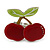 Burgundy Red/ Green Acrylic Double Cherry With Leaves Ring In Silver Tone - Adjustable - Size 7/8