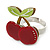 Burgundy Red/ Green Acrylic Double Cherry With Leaves Ring In Silver Tone - Adjustable - Size 7/8 - view 6