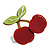 Burgundy Red/ Green Acrylic Double Cherry With Leaves Ring In Silver Tone - Adjustable - Size 7/8 - view 4