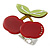 Burgundy Red/ Green Acrylic Double Cherry With Leaves Ring In Silver Tone - Adjustable - Size 7/8 - view 5