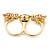 Brown Enamel, Crystal Two Head Jaguar Double Finger Ring In Gold Plated Metal - (Size 7/8) - 45mm Width - view 4