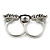 Black Enamel, Crystal Two Head Jaguar Double Finger Ring In Rhodium Plated Metal - (Size 7/8) - 45mm Width - view 7