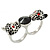 Black Enamel, Crystal Two Head Jaguar Double Finger Ring In Rhodium Plated Metal - (Size 7/8) - 45mm Width - view 5
