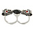 Black Enamel, Crystal Two Head Jaguar Double Finger Ring In Rhodium Plated Metal - (Size 7/8) - 45mm Width - view 6