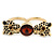 Black Enamel, Crystal Two Head Jaguar Double Finger Ring In Gold Plated Metal - (Size 7/8) - 45mm Width - view 3
