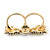 Black Enamel, Crystal Two Head Jaguar Double Finger Ring In Gold Plated Metal - (Size 7/8) - 45mm Width - view 7