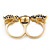 Black Enamel, Crystal Two Head Jaguar Double Finger Ring In Gold Plated Metal - (Size 7/8) - 45mm Width - view 5