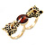 Black Enamel, Crystal Two Head Jaguar Double Finger Ring In Gold Plated Metal - (Size 7/8) - 45mm Width - view 4