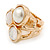Chunky Pearl Bead Wide Band Flex Ring In Gold Tone - Size 7/8 - Adjustable - view 5