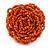 Orange Glass Bead Flower Stretch Ring - 40mm Diameter - view 4