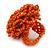 Orange Glass Bead Flower Stretch Ring - 40mm Diameter - view 3