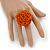 Orange Glass Bead Flower Stretch Ring - 40mm Diameter - view 2