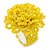 Yellow Glass Bead Flower Stretch Ring - 40mm Diameter - Large