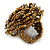 Bronze Coloured Glass Bead Flower Stretch Ring - 40mm Diameter - view 5
