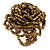 Bronze Coloured Glass Bead Flower Stretch Ring - 40mm Diameter - view 7