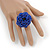Blue Glass Bead Flower Stretch Ring - 40mm Diameter - view 2