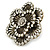 Large Layered Crystal 'Flower' Ring In Burnt Gold Finish - Adjustable - 60mm - view 7