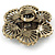Large Layered Crystal 'Flower' Ring In Burnt Gold Finish - Adjustable - 60mm - view 4