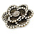Large Layered Crystal 'Flower' Ring In Burnt Gold Finish - Adjustable - 60mm - view 5