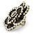 Large Layered Crystal 'Flower' Ring In Burnt Gold Finish - Adjustable - 60mm - view 3