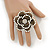 Large Layered Crystal 'Flower' Ring In Burnt Gold Finish - Adjustable - 60mm - view 2