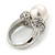 14mm White Glass Pearl, Crystal Ring In Rhodium Plating - Size 8 - view 4