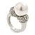 14mm White Glass Pearl, Crystal Ring In Rhodium Plating - Size 8 - view 6