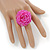 Pink Glass Bead Flower Stretch Ring - view 2