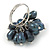 Peacock Coloured Freshwater Pearl Cluster Ring In Silver Tone - Adjustable - view 3