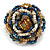 White/ Light Brown/ Chameleon Blue Glass Bead Flower Stretch Ring - view 5