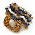 White/ Light Brown/ Chameleon Blue Glass Bead Flower Stretch Ring - view 4