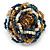 White/ Light Brown/ Chameleon Blue Glass Bead Flower Stretch Ring - view 3