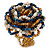 White/ Light Brown/ Chameleon Blue Glass Bead Flower Stretch Ring - view 6