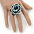 White/ Black/ Light Blue Glass Bead Flower Stretch Ring - view 2