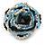 White/ Black/ Light Blue Glass Bead Flower Stretch Ring - view 3
