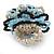 White/ Black/ Light Blue Glass Bead Flower Stretch Ring - view 4