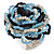 White/ Black/ Light Blue Glass Bead Flower Stretch Ring