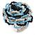 White/ Black/ Light Blue Glass Bead Flower Stretch Ring