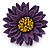 Purple/ Yellow Leather Layered Daisy Flower Ring - 40mm D - Adjustable - view 4