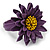 Purple/ Yellow Leather Layered Daisy Flower Ring - 40mm D - Adjustable - view 5