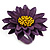Purple/ Yellow Leather Layered Daisy Flower Ring - 40mm D - Adjustable - view 6