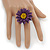 Purple/ Yellow Leather Layered Daisy Flower Ring - 40mm D - Adjustable - view 2