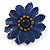 Dark Blue Leather Layered With Glass Bead Daisy Flower Wire Band Ring - Adjustable - 40mm D - view 5