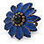 Dark Blue Leather Layered With Glass Bead Daisy Flower Wire Band Ring - Adjustable - 40mm D - view 6