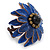 Dark Blue Leather Layered With Glass Bead Daisy Flower Wire Band Ring - Adjustable - 40mm D - view 4