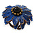 Dark Blue Leather Layered With Glass Bead Daisy Flower Wire Band Ring - Adjustable - 40mm D - view 7
