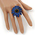 Dark Blue Leather Layered With Glass Bead Daisy Flower Wire Band Ring - Adjustable - 40mm D - view 2
