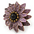 Lavender Leather Layered With Glass Bead Daisy Flower Wire Band Ring - Adjustable - 40mm D - view 7