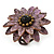 Lavender Leather Layered With Glass Bead Daisy Flower Wire Band Ring - Adjustable - 40mm D - view 8