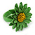 Grass Green/ Yellow Leather Layered Daisy Flower Ring - 40mm D - Adjustable - view 6
